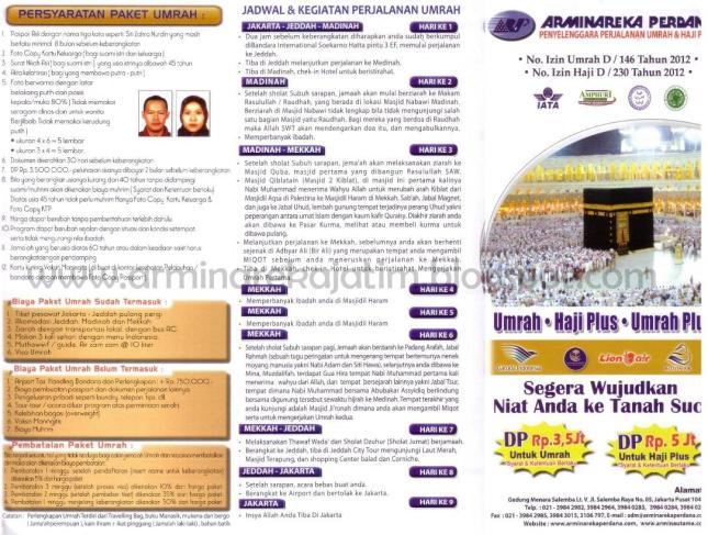 Brosur Arminareka Perdana 2013 Sisi Depan