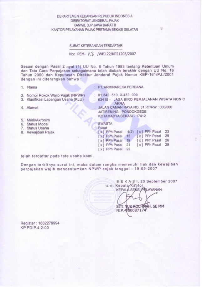 Surat Keterangan Terdaftar Dirjen Pajak