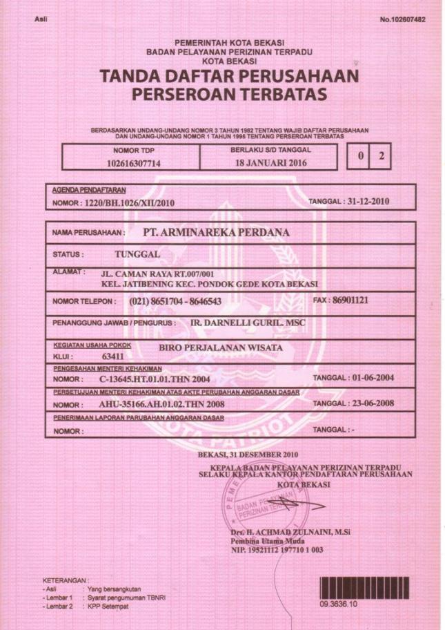 TDP PT Arminareka Perdana