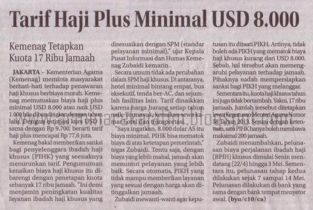 TARIF HAJI PLUS 2013 MINIMAL USD 8.000
