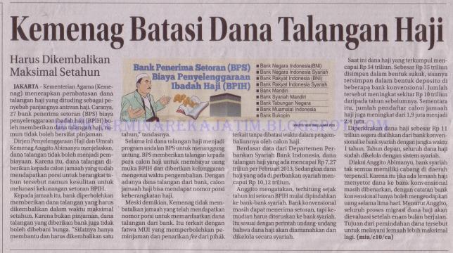 Kemenag Batasi Dana Talangan Haji